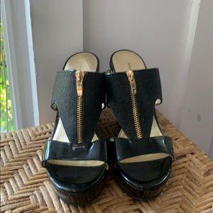 Marc Fisher Wedge Zipper/Glimmer Sandals